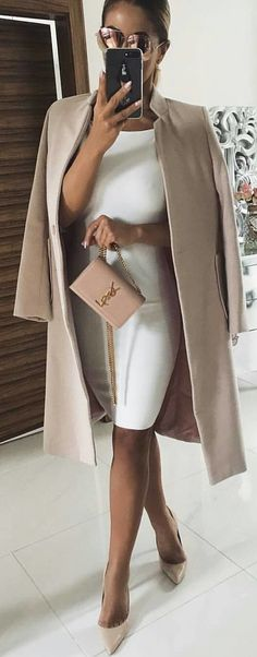 #winter #outfits white bodycon dress and beige coat