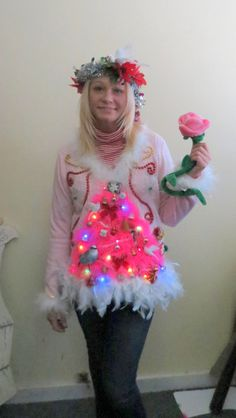 A Vision in Pink Christmas  2 Turtle Doves and a Pear in a Pink Feathered Christmas Tree Ugly Christmas Sweater Light UP Snowflake size L by tackyuglychristmas on Etsy