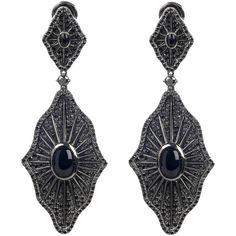 Gaydamak Black Diamond Drop Earrings ❤ liked on Polyvore