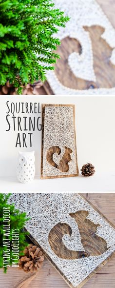 Modern squirrel silhouette minimalist string art fall wall décor for living room, nursery, great gift for birthday or thanksgiving