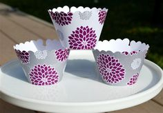 purple and gray cupcake wrappers