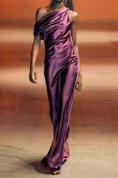 Cushnie One-shoulder Draped Silk-satin Gown - Plum , Satin Gown, Silk Gown, Satin Dresses, Silk Satin, Ny Dress, Cutout Dress, Crepe Dress, Beautiful Gowns, Evening Dresses