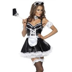 Sexy French Maid Dress Outfit Adult Halloween Costume - product - Product Review