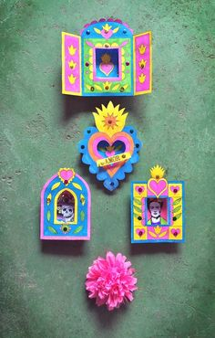 Nicho printable craft activity ideas: Shadow box frame templates! #nicho https://happythought.co.uk/craft/day-of-the-dead-nicho-activity