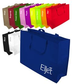 Large Non Woven Custom Tote Bags...Allow your clients to carry your brand name around for all to see. The perfect promotional product for a wide variety of businesses, this large custom tote bag is made from water resistant, non-woven polypropylene fabric and features large handles for an easy carry. Use to create fun promotional gift bags, or hand out at your next tradeshow. Customize with an imprint of your company name or logo on the large surface area. Bag does not come with a gusset.