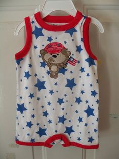 First Moments 4th of July Mr. Independent One-Piece Romper Size 6 Months NEW #FirstMoments #Everyday