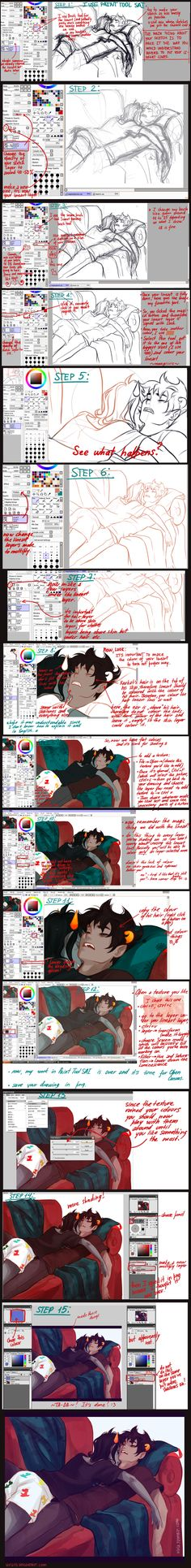 SAI tutorial. The artist is amazing. Covers from rough sketch to final piece. Very easy to understand and humourous! ^.^