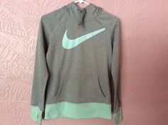 Nike Therma Fit Junior Girls Hoodie Size XS Gray Mint Green Thumb Hole Cuffs #Nike #Everyday