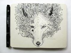 Moleskine Doodles: Drawings by Kerby Rosanes Doodle Art Letters, Easy Doodle Art, Doodle Art Journals, Zentangle, Tier Doodles, Animal Doodles, Ink Illustrations, Doodle Drawings, Pen Drawings