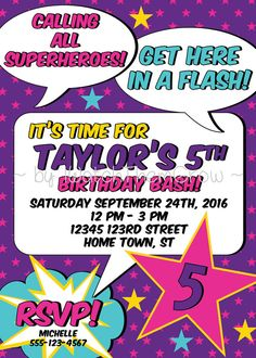 Calling all superheros! Get here in a flash! This vibrant, custom superhero party invitation beckons your guests to a fun girl superhero birthday party!  This girl superhero party invitation features bright purple, pink, and aqua with a splash of golden yellow, in a fun comic book style.  The printable invitation will be customized with your birthday girls name and age, and your party date, time, location and RSVP information.  You will receive your choice of JPG or PDF (PDF has 2 per…