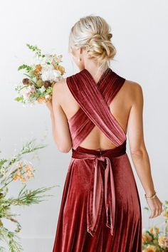 Velvet Bridesmaid Dresses, Autumn Bridesmaid Dresses, Bridesmaids, Velvet Dresses, Wedding Attire, Wedding Dresses, Wedding Bouquets, Bridesmaid Separates, Convertible Dress