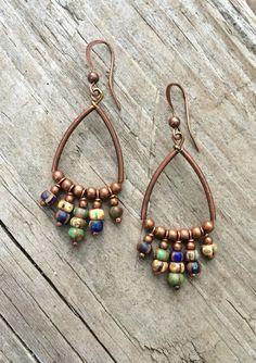Copper Hoop Bohemian Earrings with Czech Glass Dangles