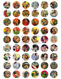 1 inch circle digital download VINTAGE COMIC collage sheet for pendants, magnets, Bottle Caps, scrapping, craft supply.
