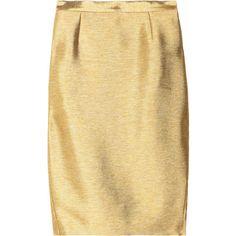 Just Cavalli Metallic-twill pencil skirt ❤ liked on Polyvore featuring skirts, metallic skirt, twill skirt, metallic gold pencil skirt, beige skirt and knee length pencil skirt