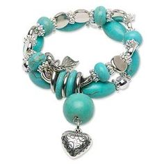 Turquoise Blue Magnesite Stretch Bead Bracelet. Starting at $1 on Tophatter.com!