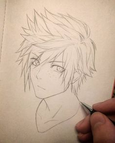 Manga Drawing Tips - Anime Boy Sketch, Anime Drawings Sketches, Manga Drawing, Drawing Faces, Tattoo Drawings, How To Draw Hair, Drawing Techniques, Drawing Tips, Art Reference Poses
