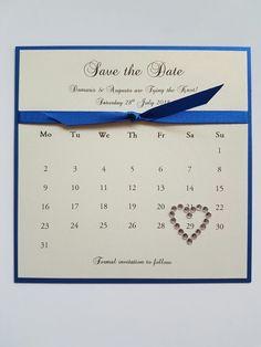 Royal blue and ivory wedding save the date idea bespoke wedding stationery