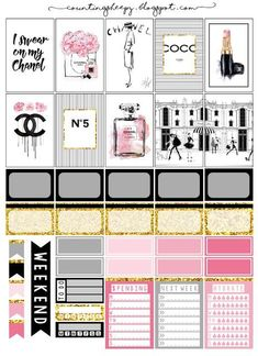 Free Printable Chanel Planner Stickers from Counting Sheepy