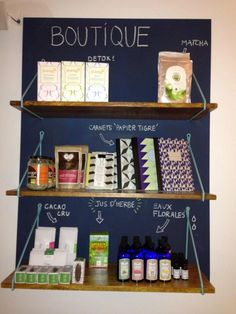 "love chalkboard background with shelving for retail ""boutique"""
