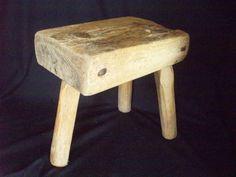 Antique Primitive Wooden Block Milking Stool