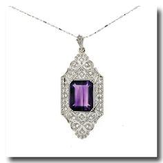 Inv. #15471  Amethyst and Diamond Pendant 18k c1950s Swiss. Lawrence Jeffrey Estate Jewelers