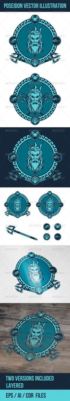 Poseidon Vector Illustration  For download - http://graphicriver.net/item/poseidon-vector-illustration/7438229?WT.ac=follow&WT.seg_1=follow&WT.z_author=defilemorality