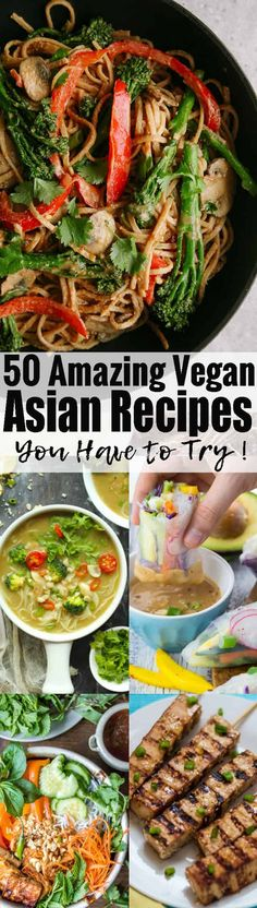 These 50 vegan Asian recipes will definitely make you drool! They all make such an amazing vegan dinner and are packed with flavor! The roundup includes vegan pad thai, fried rice, curries, summer rolls, and so much more! Find more vegetarian recipes at veganheaven.org ! <3