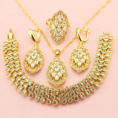 WPAITKYS Cute Trendy White Created Topaz Gold Plated Jewelry Set For Women Earrings Necklace Pendant Ring Bracelet Free Gift Box