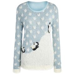 Christmas Penguin Jumper ($25) ❤ liked on Polyvore featuring tops, sweaters, christmas tops, jumper top, christmas sweater, blue christmas sweater and blue top