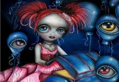 Tranquila by Abril Andrade Griffithtattoo Art Print Whimsical Big Eye Character | eBay