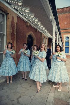 Pale blue vintage bridesmaids dresses @deannalorenz I'm dying of laughter picturing u and heather in these dresses!!!!!! Lol