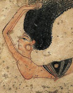 Egyptian Dancer painted on limestone, 19th Dynasty, c. 1200 BCE