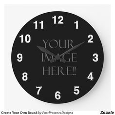 Create Your Own Round Large Clock Wall Clock Design, Text On Photo, Large Clock, Wall Clocks, Artwork Design, Hand Coloring, Colorful Backgrounds, Create Your Own, Chiming Wall Clocks