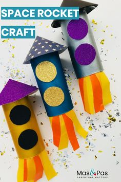 These paper roll space rockets are out of this world.In minutes you can transform a simple toilet roll into an almighty rocket, ready to launch off into space.An exciting rocket craft for kids to enjoy playing with. Space Activities For Kids, Space Crafts For Kids, Easter Crafts For Kids, Toddler Crafts, Preschool Crafts, Diy For Kids, Big Kids, Space Kids, Space Space