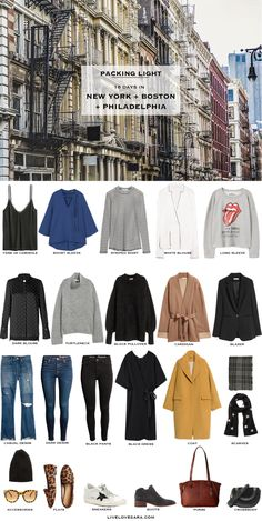 What to Pack for 16 Days in New York, Boston, and Philadelphia Packing Light List New York Packing list Philadelphia Packing list Boston packing list packing light livelovesara New York Outfits, City Outfits, Fashion Outfits, Fall Packing List, Winter Packing, Weekend Trip Packing, Winter Outfits, Winter Travel Outfit, Outfit Summer