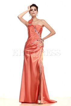 Brilliant A-Line One-shoulder Floor-Length Empire Waistline Sequins Taline's Evening Pageant Dress
