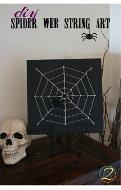 DIY Spider Web String Art - Such a simple Halloween craft. Pin now and make it later! #halloween #stringart #spiderwebs