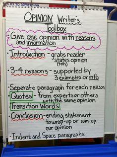 Opinion writing chart