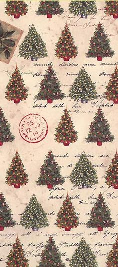 Italian Christmas crafting paper with trees and postmarks