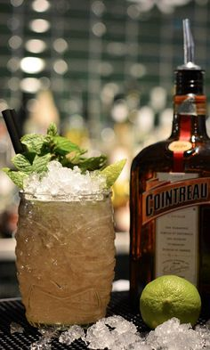 Mai Tai Recipe: - 4 cl Dark Rum - 1 cl Cointreau - 2 cl Fresh Lime Juice - 1 cl Orgeat Suryp -1 cl Overproof Rum Float Glass: Rocks Ice: Crushed Garnish: Mint sprig Garnish: Shake,strain and float