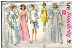 7479 Vintage Simplicity Sewing Pattern Misses Wedding Gown Dress Bridesmaids OOP