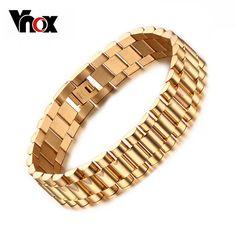 Vnox Men's Bracelet Gold-color Chunky Chain Bracelets Bangles Stainless Steel Male Jewelry