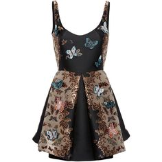 Zuhair Murad Mini Flared Butterfly Tank Dress ($2,980) ❤ liked on Polyvore featuring dresses, vestido, tank dress, flare dress, short mini skirts, mini flare skirt and short flare dress