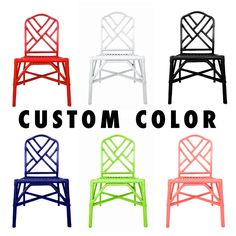 CUSTOM COLOR Vintage Hollywood Regency Bamboo Chinese Chippendale Chairs || Two…