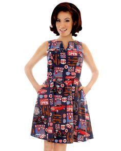 highway rockabilly dress, car garage retro dress, highway sign retro dress $70