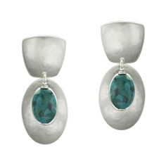 Tapered Square with Oval Frame and Turquoise Bead Earring | Marjorie Baer Accessories
