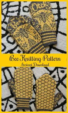 Bee Mittens - Whimsical Mittens - Funny Knitting Pattern - Pattern PDF #ad #Etsy #bee #bees
