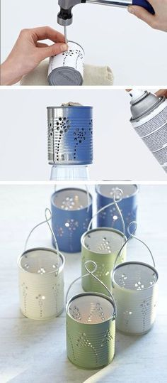 Tiin Can Lanterns - DIY Garden Lighting Ideas - fill with tea lights or flowers, depending on your event!