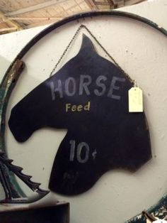 Horse Feed Sign   Vintage Advertising Sign   $68  Vintage Affection Dealer #1680  White Elephant Antiques 1026 N. Riverfront Blvd. Dallas, T...