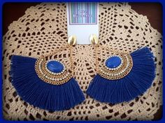 Brinco Leque Azul Royal